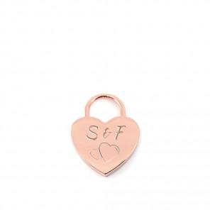 Herzschloss - klein (21mm) Gravur 6 Zeichen